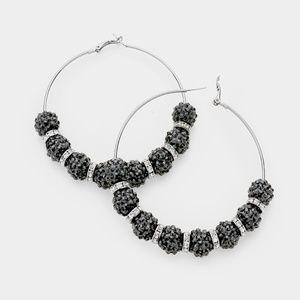 Jewelry - Silver & Black Shamballa Disco Beads Hoop Earrings